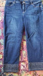 Chico's slimming dark wash cropped jeans